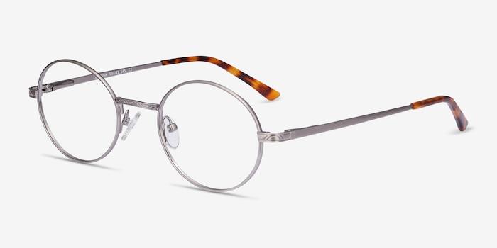 Equinox Gunmetal Metal Eyeglass Frames from EyeBuyDirect, Angle View