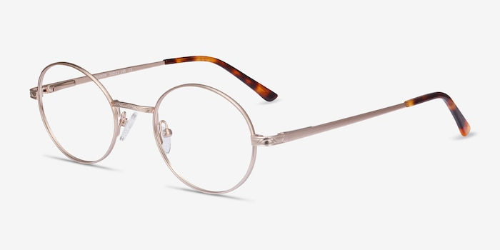 Equinox Gold Metal Eyeglass Frames from EyeBuyDirect, Angle View