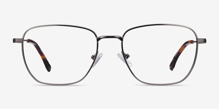 Throne Gunmetal Metal Eyeglass Frames from EyeBuyDirect, Front View