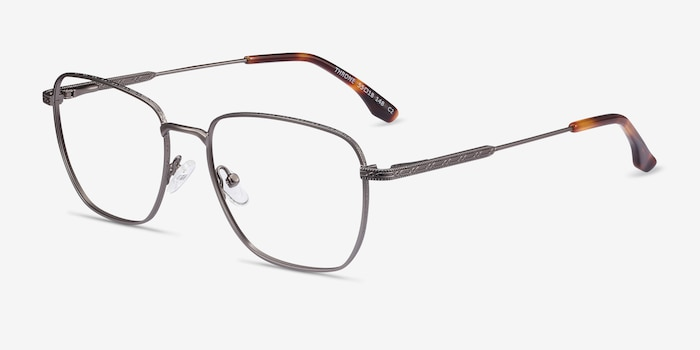 Throne Gunmetal Metal Eyeglass Frames from EyeBuyDirect, Angle View
