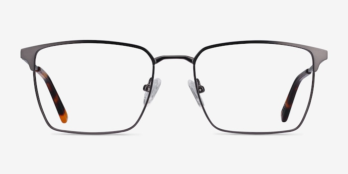 Metro Gunmetal Metal Eyeglass Frames from EyeBuyDirect, Front View