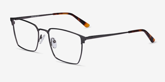 Metro Gunmetal Metal Eyeglass Frames from EyeBuyDirect, Angle View