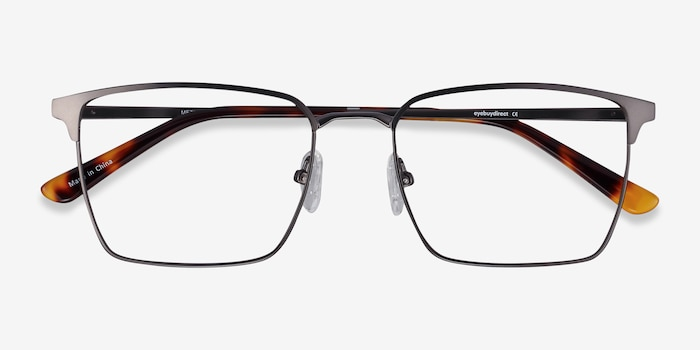 Metro Gunmetal Metal Eyeglass Frames from EyeBuyDirect, Closed View