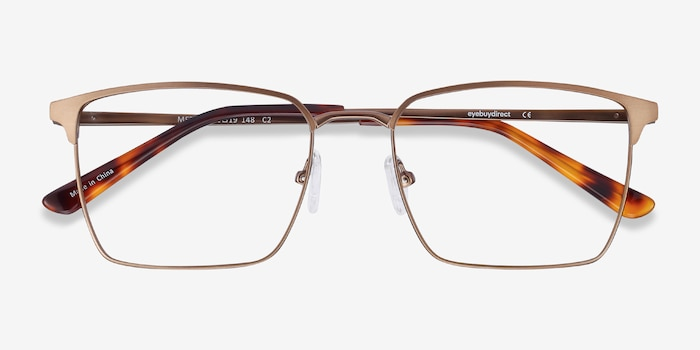 Metro Coffee Metal Eyeglass Frames from EyeBuyDirect, Closed View