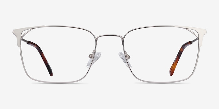 Emett Silver Metal Eyeglass Frames from EyeBuyDirect, Front View