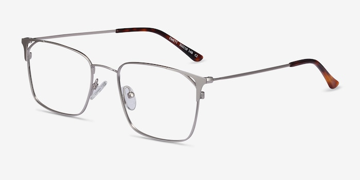 Emett Silver Metal Eyeglass Frames from EyeBuyDirect, Angle View