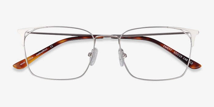 Emett Silver Metal Eyeglass Frames from EyeBuyDirect, Closed View