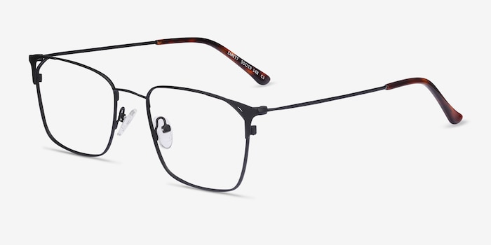 Emett Black Metal Eyeglass Frames from EyeBuyDirect, Angle View