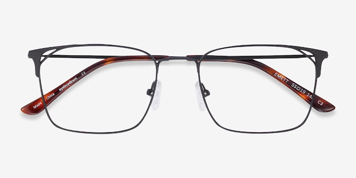 Emett Black Metal Eyeglass Frames from EyeBuyDirect, Closed View