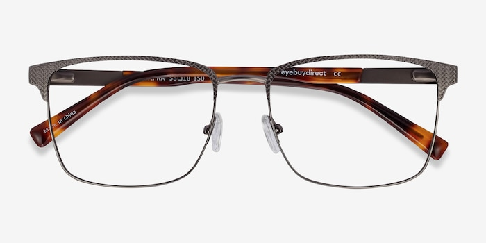 Capra Gunmetal Acetate Eyeglass Frames from EyeBuyDirect, Closed View