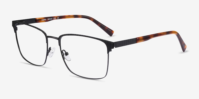 Capra Black Acetate-metal Eyeglass Frames from EyeBuyDirect, Angle View