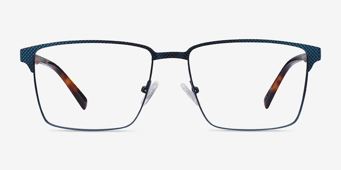 Douglas Blue Metal Eyeglass Frames from EyeBuyDirect, Front View