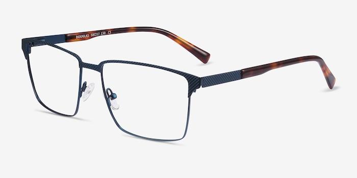 Douglas Blue Metal Eyeglass Frames from EyeBuyDirect, Angle View