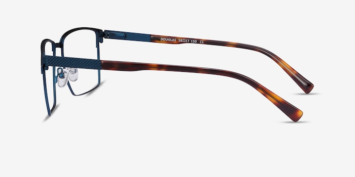 Douglas Blue Metal Eyeglass Frames from EyeBuyDirect, Side View