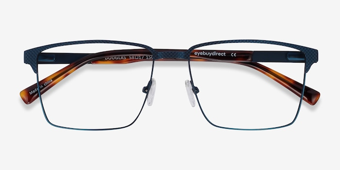 Douglas Blue Metal Eyeglass Frames from EyeBuyDirect, Closed View