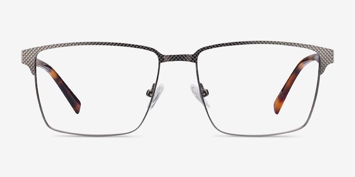 Douglas Gunmetal Metal Eyeglass Frames from EyeBuyDirect, Front View