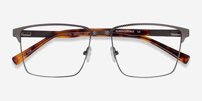 Douglas Gunmetal Metal Eyeglass Frames from EyeBuyDirect, Closed View