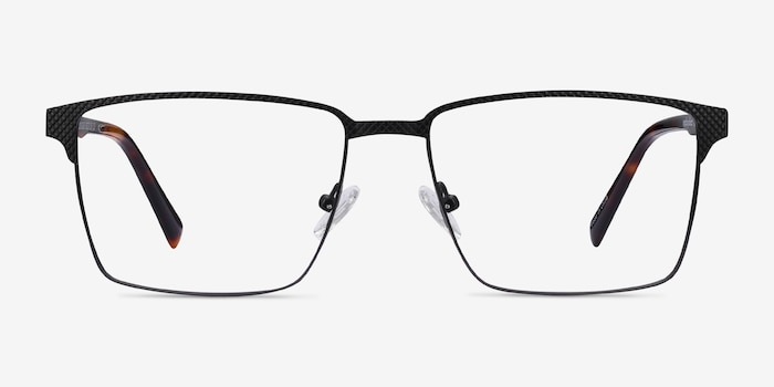 Douglas Black Metal Eyeglass Frames from EyeBuyDirect, Front View