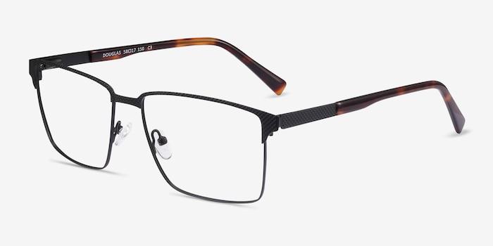 Douglas Black Metal Eyeglass Frames from EyeBuyDirect, Angle View