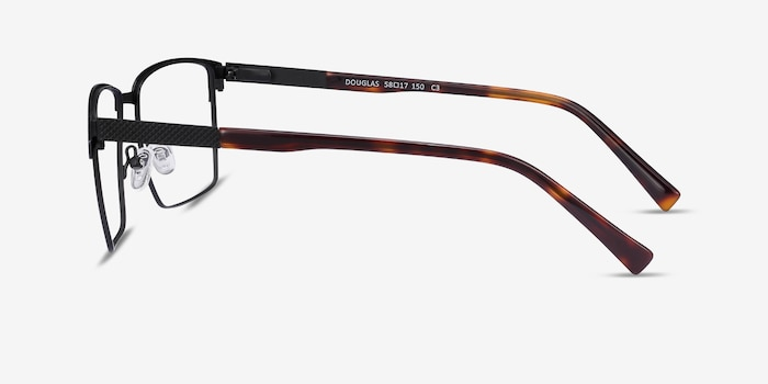 Douglas Black Metal Eyeglass Frames from EyeBuyDirect, Side View