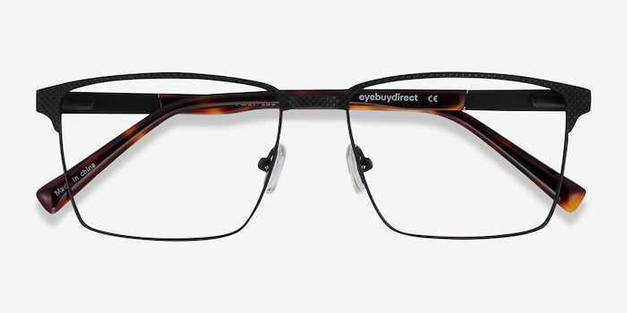 Douglas Black Metal Eyeglass Frames from EyeBuyDirect, Closed View
