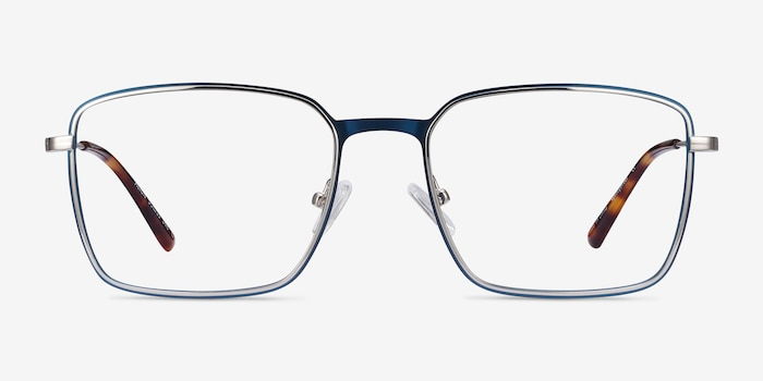 Align Blue & Silver Metal Eyeglass Frames from EyeBuyDirect, Front View
