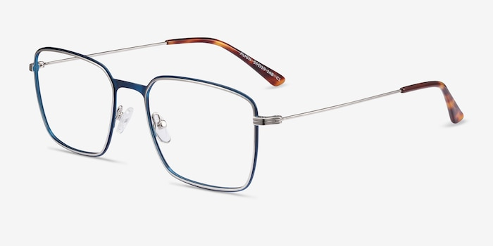 Align Blue & Silver Metal Eyeglass Frames from EyeBuyDirect, Angle View