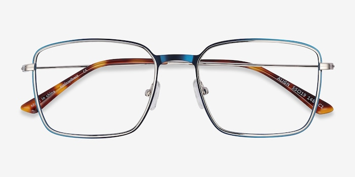 Align Blue & Silver Metal Eyeglass Frames from EyeBuyDirect, Closed View