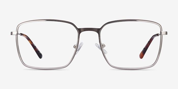 Align Gunmetal & Silver Metal Eyeglass Frames from EyeBuyDirect, Front View