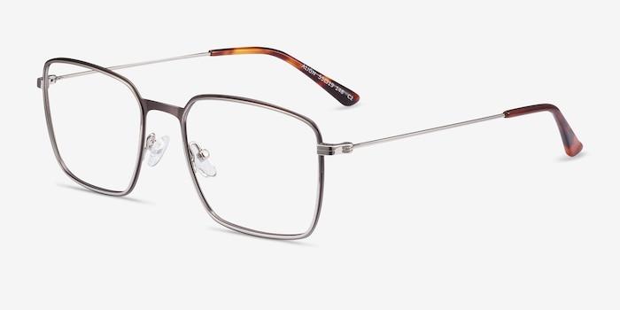 Align Gunmetal & Silver Metal Eyeglass Frames from EyeBuyDirect, Angle View