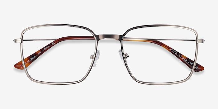 Align Gunmetal & Silver Metal Eyeglass Frames from EyeBuyDirect, Closed View