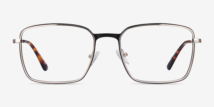 Align Black & Silver Metal Eyeglass Frames from EyeBuyDirect, Front View