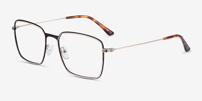 Align Black & Silver Metal Eyeglass Frames from EyeBuyDirect, Angle View