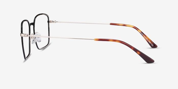 Align Black & Silver Metal Eyeglass Frames from EyeBuyDirect, Side View