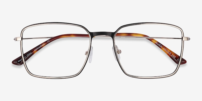 Align Black & Silver Metal Eyeglass Frames from EyeBuyDirect, Closed View