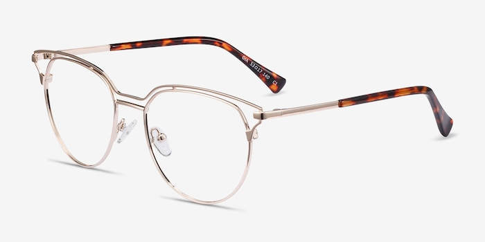 Gia Gold Metal Eyeglass Frames from EyeBuyDirect, Angle View