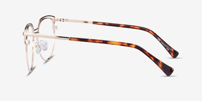Gia Gold Metal Eyeglass Frames from EyeBuyDirect, Side View