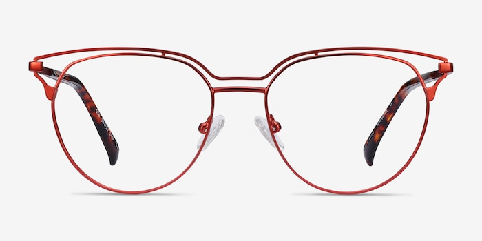 Gia Red Metal Eyeglass Frames from EyeBuyDirect, Front View