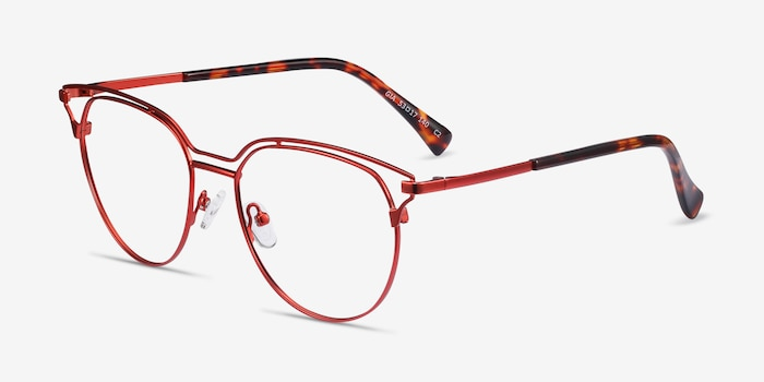 Gia Red Metal Eyeglass Frames from EyeBuyDirect, Angle View