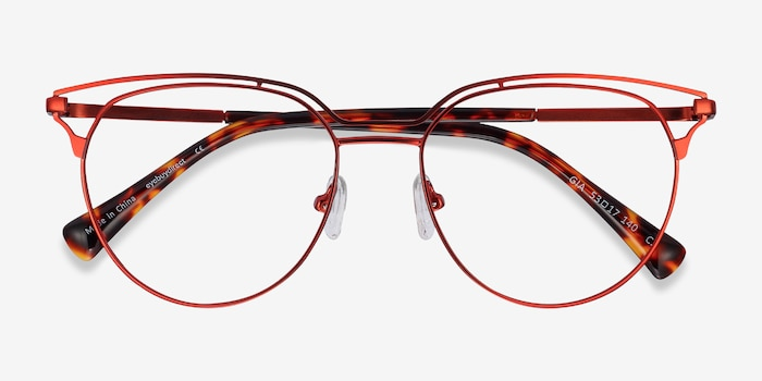 Gia Red Metal Eyeglass Frames from EyeBuyDirect, Closed View