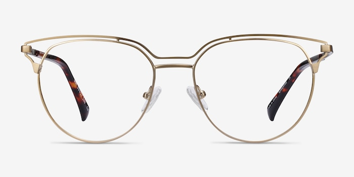 Gia Bronze Metal Eyeglass Frames from EyeBuyDirect, Front View