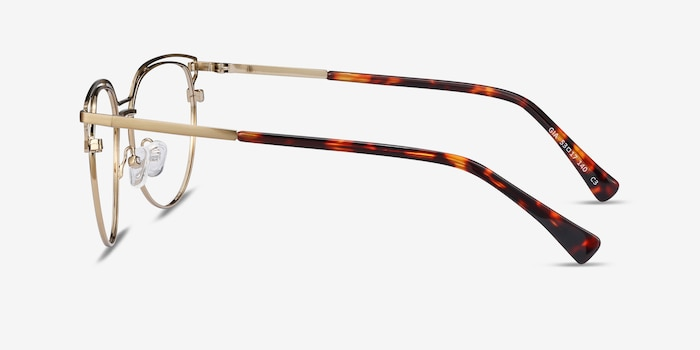 Gia Bronze Metal Eyeglass Frames from EyeBuyDirect, Side View