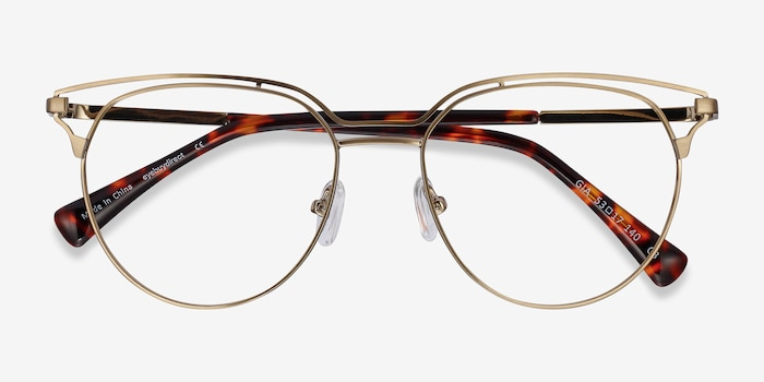 Gia Bronze Metal Eyeglass Frames from EyeBuyDirect, Closed View