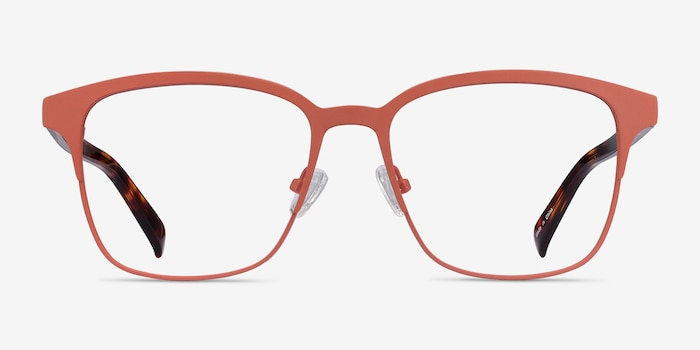 Intense Coral & Tortoise Metal Eyeglass Frames from EyeBuyDirect, Front View