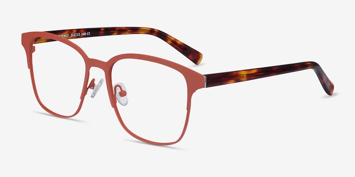 Intense Coral & Tortoise Metal Eyeglass Frames from EyeBuyDirect, Angle View