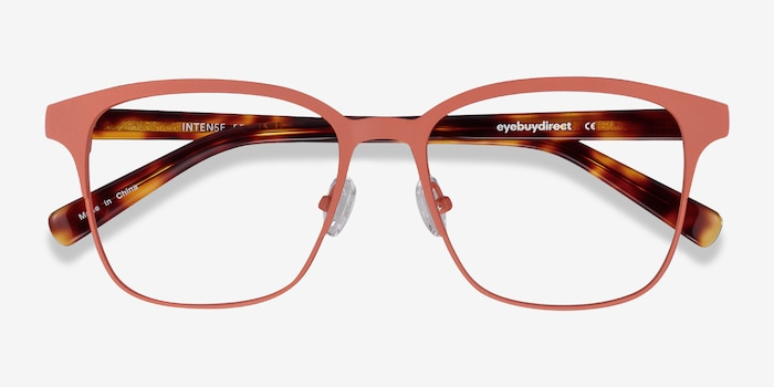 Intense Coral & Tortoise Metal Eyeglass Frames from EyeBuyDirect, Closed View