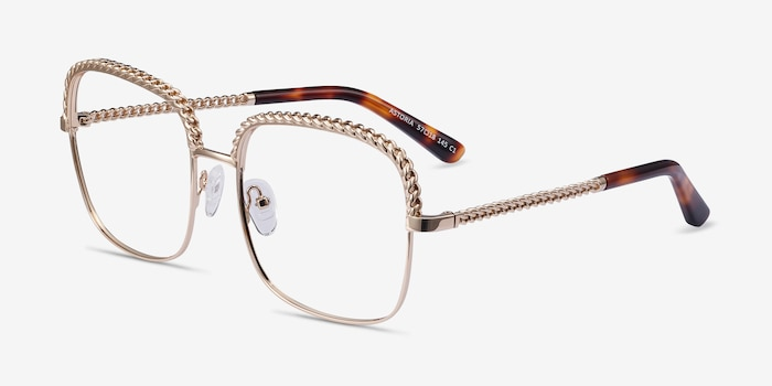 Astoria Gold Metal Eyeglass Frames from EyeBuyDirect, Angle View