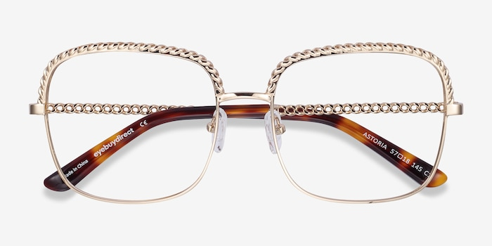 Astoria Gold Metal Eyeglass Frames from EyeBuyDirect, Closed View