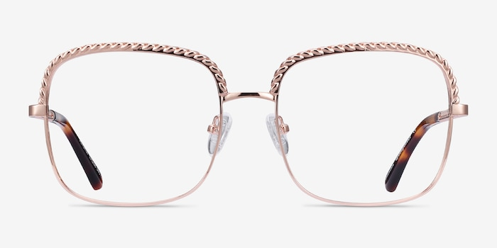 Astoria Rose Gold Metal Eyeglass Frames from EyeBuyDirect, Front View