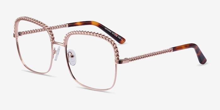 Astoria Rose Gold Metal Eyeglass Frames from EyeBuyDirect, Angle View